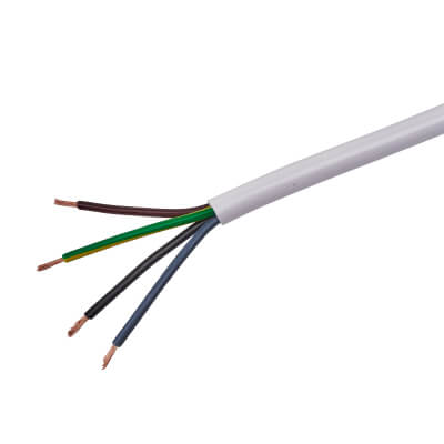 3094Y 4 Core Heat Resistant Flex - 1mm² x 50m - White)
