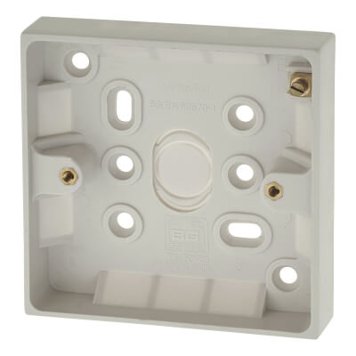 BG 1 Gang Surface Pattress Box with Earth Terminal - 19mm - White)