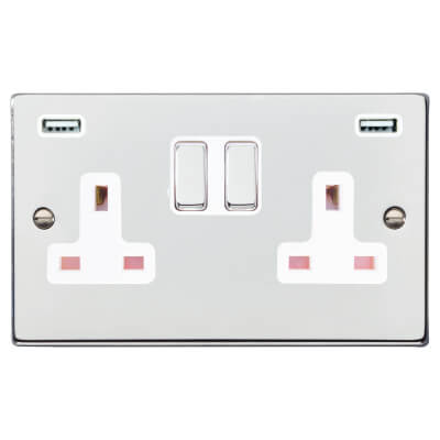 Hamilton 13A 2 Gang Switched Socket x 2 USBs - 3.1A - Bright Chrome with White Inserts)