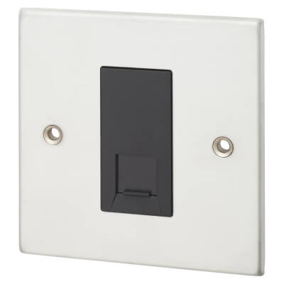 1  Gang RJ45 Cat 5E Outlet  -  Satin Chrome with Black Inserts)