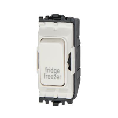 MK 20A Printed Double Pole Printed Grid Switch - Fridge/Freezer - White)
