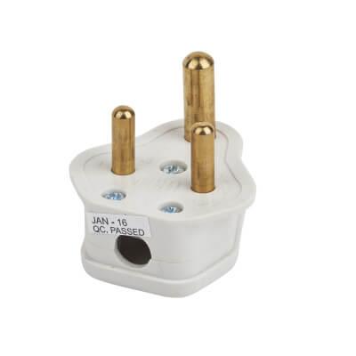 Deta 5A 3 Pin Round Plug Top - White