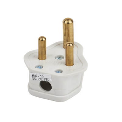 Deta 5A 3 Pin Round Plug Top - White