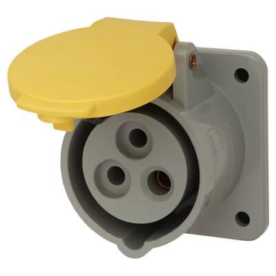 16A 2 Pin and Earth Panel Socket - Yellow