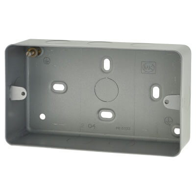 MK 2 Gang Surface Back Box with Knockout - 41mm - Steel)