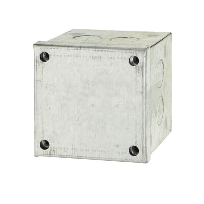 Adaptable Back Box with Knockouts - 78mm - Galvanised)