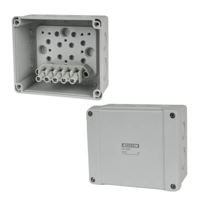 Hensel IP65 5 Inch Connection Box - Grey)