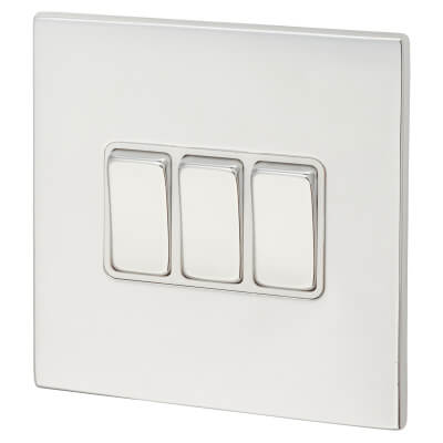Hamilton 10A 3 Gang 2 Way Screwless Switch  - Bright Chrome with White Inserts)