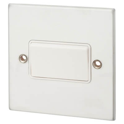 1 Gang 10A Triple Pole Rocker Switches - Satin Chrome with White Inserts)
