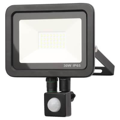 Forum Zinc Rye 30W Slimline LED Floodlight with PIR - Black)
