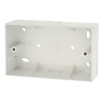 Marshall Tufflex 2 Gang Surface Pattress Box with Minitrunking Knockout - 44mm - White)
