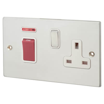 1 Gang 45A Double Pole + Neon & Socket  - Satin Chrome with White Inserts)