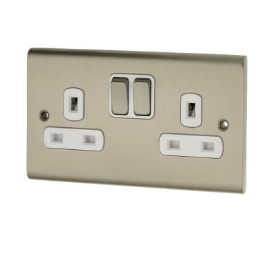 Deta Slimline 13A 2 Gang Switched Socket - Satin Chrome)