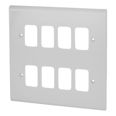 Deta 8 Gang Grid Cover Plate - White)