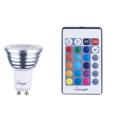 3W GU10 LED Colour Changing Spotlight Lamp)