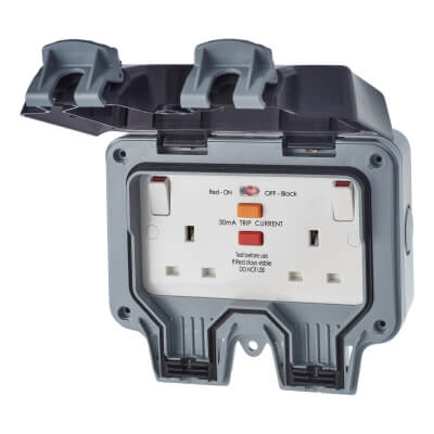 BG 13A IP66 2 Gang Weatherproof 30mA RCD Protected Switched Socket Outlet - Grey