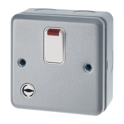 MK 32A 1 Gang Double Pole Metal Clad Switch with Flex Outlet and Neon - Grey