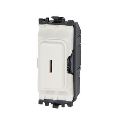 MK 20A 1 Way Double Pole Key Grid Switch - White)