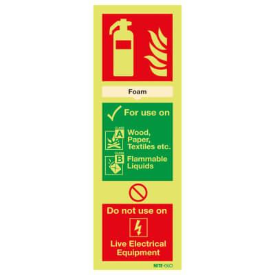 NITE GLO Fire Extinguisher Sign - Foam - 300 x 100mm - Rigid Plastic)