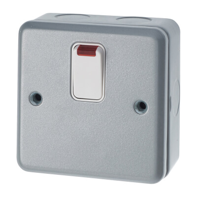 MK 20A 1 Gang Double Pole Metalclad Switch with Neon - Grey