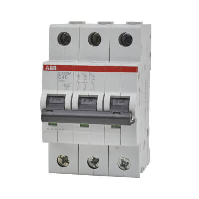 ABB 40A 10kA Triple Pole 3 Phase MCB - Type C)