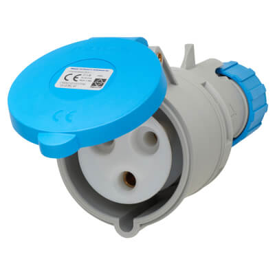 Lewden 32A 2 Pin and Earth Trailing Socket - Blue)