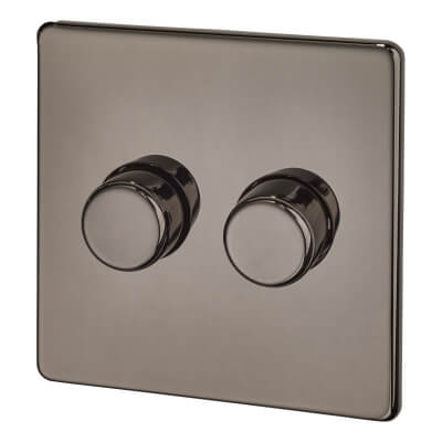 BG Screwless Flatplate 400W 2 Gang 2 Way Dimmer Switch - Black Nickel)