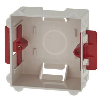 1 Gang Dry Line Box Flat Plate - 35mm - White