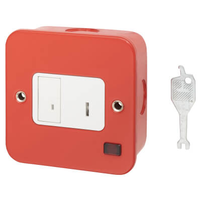 Contactum 1 Gang Key Operated Switched Spur with Neon - Red
