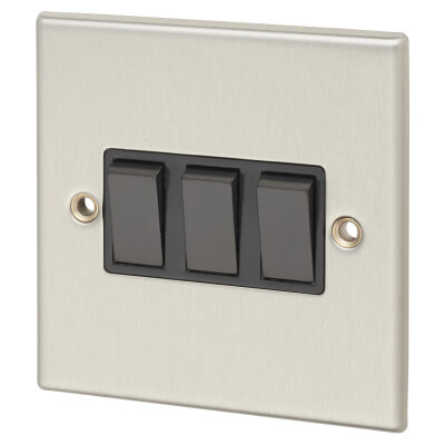 Contactum 10A 3 Gang 2 Way Plate Switch - Brushed Steel with Black Insert)