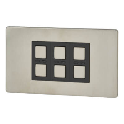 LightwaveRF 3 Gang Smart Dimmer Switch - Stainless Steel)