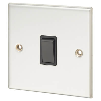 Contactum 10A 1 Gang 2 Way Light Switch - Polished Steel with Black Insert)