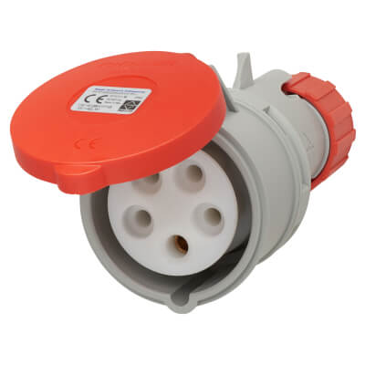 16A 4 Pin and Earth Trailing Socket - Red)