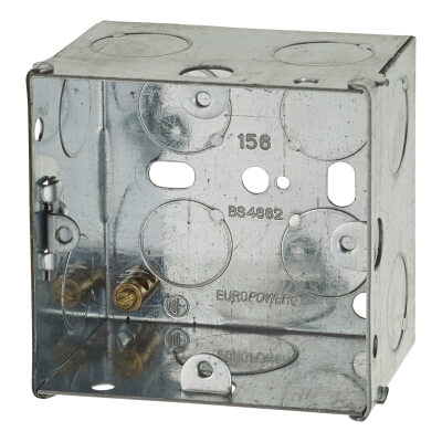 1 Gang 47mm Back Box with Knock Out - Galvanised