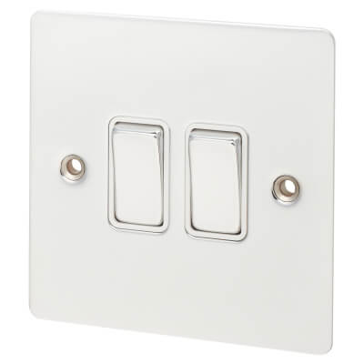 Hamilton 10A 2 Gang 2 Way Flat Plate Switch  - Bright Chrome with White Inserts)