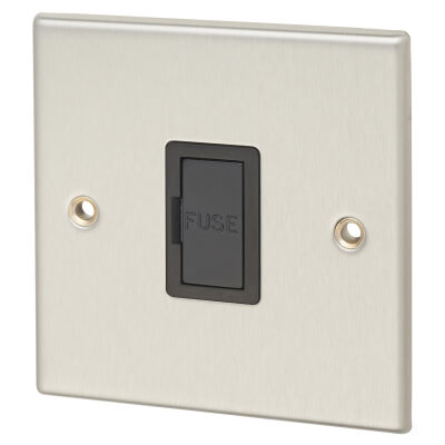 Contactum 13A 1 Gang Unswitched Connection Unit - Brushed Steel with Black Insert)