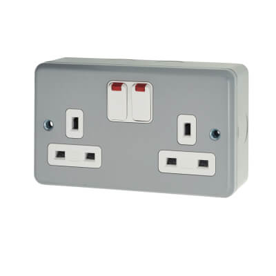 MK 13A 2 Gang Double Pole Metal Clad Switched Socket with Neon - Grey
