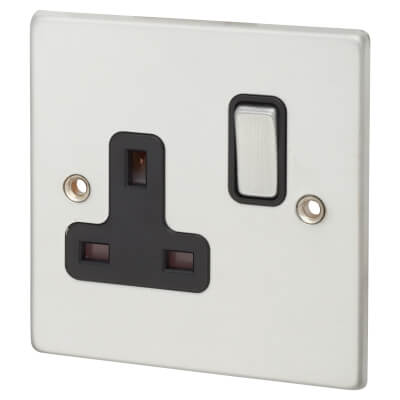 1  Gang 13A Switched Socket  - Satin Chrome with Black Inserts)