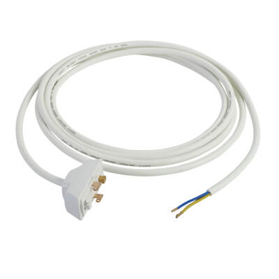 Hager Klik 6A 3 Terminals 3 Pin Plug with 3000mm Lead - White)