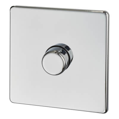 BG Screwless Flatplate 400W 1 Gang 2 Way Dimmer Switch - Polished Chrome)