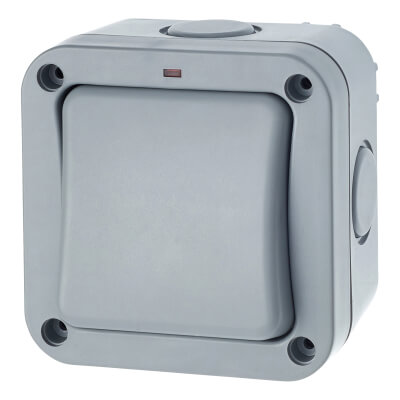 BG 20A IP66 1 Gang 1 Way Outdoor Switch - Grey)
