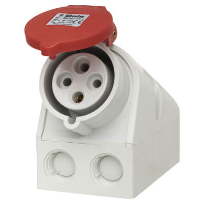 32A 3 Pin and Earth Surface Socket - Red)