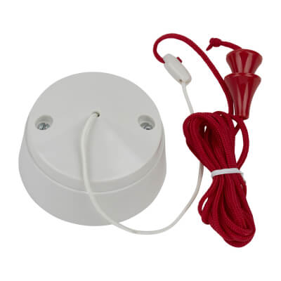 MK 6A Momentary Pull Cord Switch with Red Cord - White)