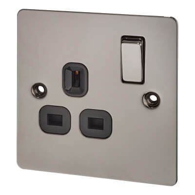 BG Screwed 13A 1 Gang Socket Outlet - Black Nickel with Grey Insert)