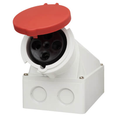 63A 3 Pin and Earth Surface Socket - Red)