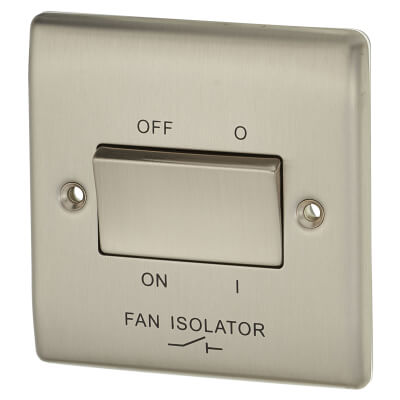 BG 10A 1 Gang 3 Pole Fan Isolator Switch - Brushed Steel)