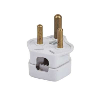 2A 3 Pin Round Plug Top - White)