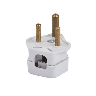Deta 2A 3 Pin Round Plug Top - White