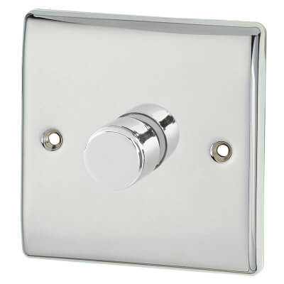 BG 400W 1 Gang 2 Way Push Dimmer Switch - Polished Chrome)