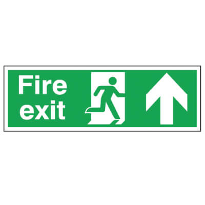 Double Sided Fire Exit Sign - Up - 450 x 150mm)